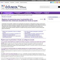 Éducation à la sexualité - Repères et ressources pour la prévention et le traitement des violences sexuelles
