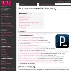 Liens ressources tutoriaux Processing — Centre de Ressources Numériques - Labomedia