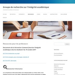Ressources pour les professeurs — Groupe de recherche sur l'intégrité académique