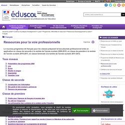Français - Ressources pour la voie professionnelle