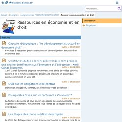 8.1. Ressources en économie et en droit - Économie Gestion en Lycées Professionnels