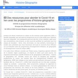 Des ressources pour aborder le Covid-19 en lien avec les programmes d'histoire-géographie