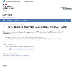 EAF: ressources pour la question de grammaire
