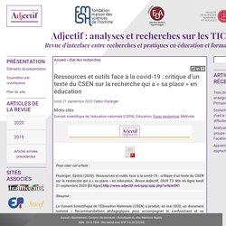 Ressources et outils face à la covid-19 : critique d'un texte du CSEN sur la recherche qui a « sa place » en éducation