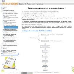 Gestion de Ressources Humaines - Recrutement externe ou promotion interne ?
