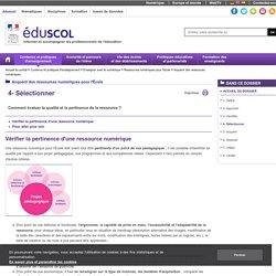 Acquérir des ressources numériques - 4- Sélectionner