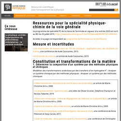 Ressources pour la spécialité physique-chimie de la voie générale