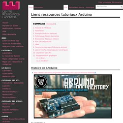 Liens ressources tutoriaux Arduino