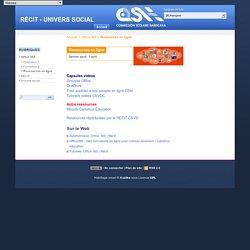 Ressources en ligne - RÉCIT - UNIVERS SOCIAL
