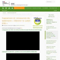 REPLAY et ressources du webinaire « Obtenir le Label E3D »