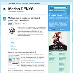 Site de ressources pour Wordpress : Plugins, templates et sécurité Wordpress par Marian DENYS