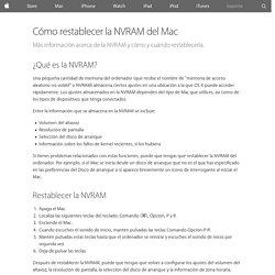 Cómo restablecer la NVRAM del Mac - Soporte técnico de Apple