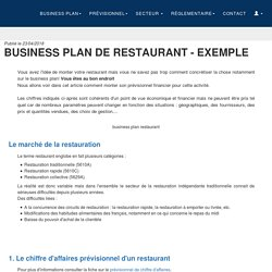 Business Plan de Restaurant - Exemple