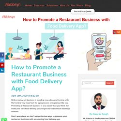 How to Promote a Restaurant Business with Food Delivery App? - iGlobsyn