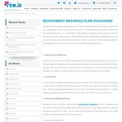 Restaurant Business Plan Discussed
