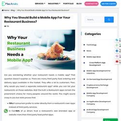 Why Your Restaurant Business Needs a Mobile App?