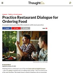 Restaurant Dialogue and Ordering Food ESL/EFL Lesson Plan