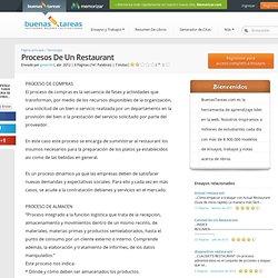 Procesos De Un Restaurant - Investigaciones - Ginorchrd