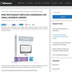 Free Restaurant Employee Handbooks For Small Business Owners