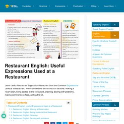 Restaurant English: Useful Expressions Used At A Restaurant