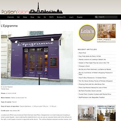 Paris Restaurant Review: L'Epigramme