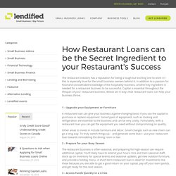 How Restaurant Loans can be the Secret Ingredient to your Restaurant's Success