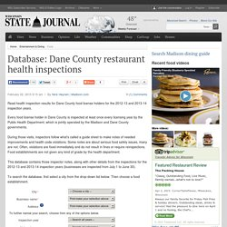 Database: Dane County restaurant health inspections