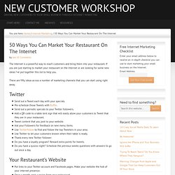50 Ways You Can Market Your Restaurant On The Internet