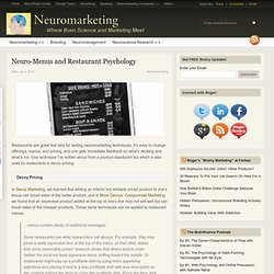 Neuro-Menus and Restaurant Psychology