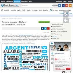 Titres restaurant - Plafond d'exonération 2015-2016