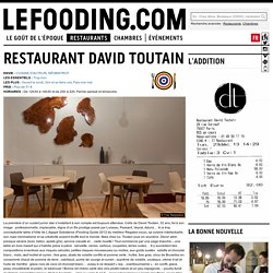 Restaurant David Toutain à Paris