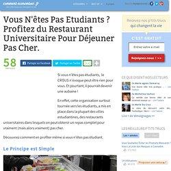 Vous N'êtes Pas Etudiants ? Profitez du Restaurant Universitaire Pour Déjeuner Pas Cher.