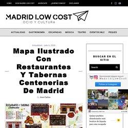 Mapa ilustrado con restaurantes y tabernas centenerias de Madrid