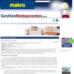 Gestión de la rentabilidad de la carta del restaurante a través del análisis RRP. Artículos e informes. Artículos de gestión
