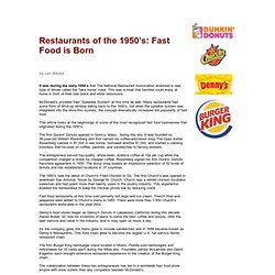 Restaurants of the 1950's: Fast Food is Born - Fifties Food