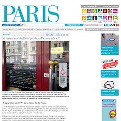 """MAIRIE DE PARIS - 50 restaurants labellisés """"produits d'ici cuisinés ici"""""""