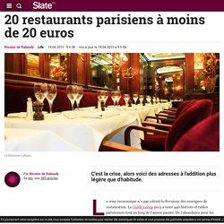 20 restaurants parisiens à moins de 20 euros
