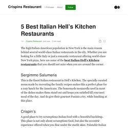 5 Best Italian Hell's Kitchen Restaurants