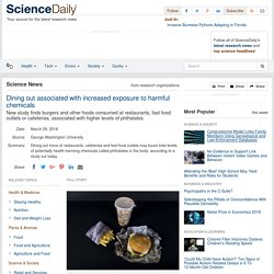 Dining out associated with increased exposure to harmful chemicals: New study finds burgers and other foods consumed at restaurants, fast food outlets or cafeterias, associated with higher levels of phthalates