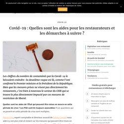 Covid-19 : Les aides pour les restaurateurs et les démarches à suivre