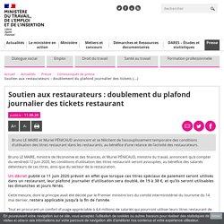 Soutien aux restaurateurs : doublement du plafond journalier des tickets restaurant - Ministère du Travail, de l'Emploi et de l'Insertion