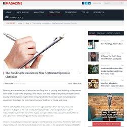 The Budding Restaurateurs New Restaurant Operation Checklist - RMagazine