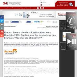 Etude : 'Le marché de la Restauration Hors Domicile 2015. Quelles sont les aspirations des Français ? Où investir et innover ?'