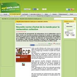 AGRIAVIS 18/04/10 Nouvelle norme d'achat de la viande pour la restauration collective