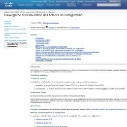 Sauvegarde et restauration des fichiers de configuration
