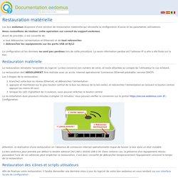 Restauration matérielle - Documentation eedomus