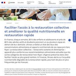 ANSES 25/02/21 Faciliter l'accès à la restauration collective et améliorer la qualité nutritionnelle en restauration rapide