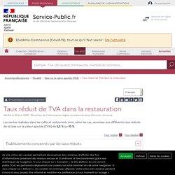Taux réduit de TVA dans la restauration - professionnels