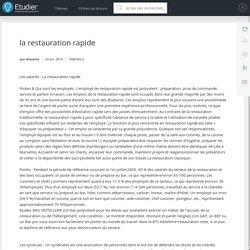 la restauration rapide - Note de recherches - Elissamz