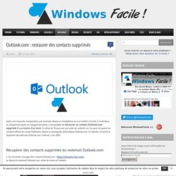 Outlook.com : restaurer des contacts supprimés